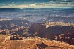 Storslagen siktspunkt i monumenthandfatet i Canyonlands, Utah, USA Royaltyfria Bilder