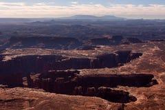 Storslagen siktspunkt i monumenthandfatet i Canyonlands, Utah, USA Arkivfoton