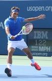 Storslagen Slam för sjutton gånger mästare Roger Federer  Arkivbild