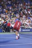 Storslagen Slam för sjutton gånger mästare Roger Federer som lämnar stadion efter förlust i den fjärde runda matchen på US Open 20 Fotografering för Bildbyråer