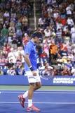 Storslagen Slam för sjutton gånger mästare Roger Federer som lämnar stadion efter förlust i den fjärde runda matchen på US Open 20 Royaltyfri Fotografi