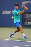 Storslagen Slam för sjutton gånger mästare Roger Federer under den tredje runda matchen på US Open 2014 Arkivfoto