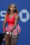 Storslagen Slam för sjutton gånger mästare Serena Williams under hennes finalmatch på US Open 2013 Arkivfoton