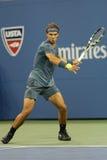Storslagen Slam för tolv gånger mästare Rafael Nadal under den andra runda matchen på US Open 2013 Arkivfoto