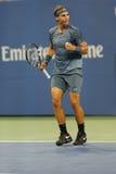 Storslagen Slam för tolv gånger mästare Rafael Nadal under den andra runda matchen på US Open 2013 Arkivfoton