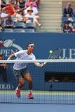 Storslagen Slam för tolv gånger mästare Rafael Nadal under semifinalmatch på US Open 2013 mot Richard Gasquet Royaltyfria Foton