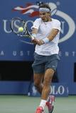 Storslagen Slam för tolv gånger mästare Rafael Nadal under semifinalmatch på US Open 2013 mot Richard Gasquet Arkivfoto