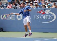 Storslagen Slam för två gånger mästare Stanislas Wawrinka av Schweiz i handling under hans match på US Open 2015 Royaltyfria Foton