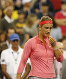 Storslagen Slam för två gånger mästare Victoria Azarenka i revor efter henne borttappad finalmatch på US Open 2013 Royaltyfri Foto