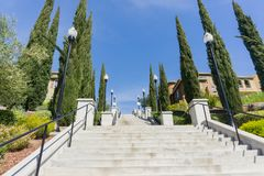 Storslagen trappuppgång, kommunikationskulle, San Francisco Bay, San Jose, Kalifornien Royaltyfria Bilder