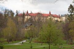Storslaget hotell Praha i Tatranska Lomnica Royaltyfri Bild