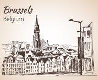 Storslaget ställe - Bryssel, Belgien skissa royaltyfri illustrationer