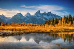 Storslaget Teton för nedgång område Wyoming, Amerika Arkivfoto