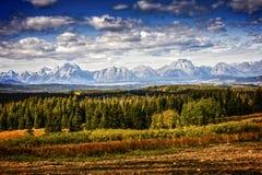 Storslaget Teton nationalparklandskap arkivbilder