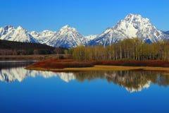 Storslaget Teton område reflekterade i den Oxbow krökningen av Snaket River, den storslagna Teton nationalparken, Wyoming Arkivfoto