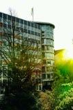 Storstad för fönster för HAMBURG högväxt modern byggnadssol arkivfoton