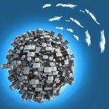 Storstad på det små planet begrepp av nätverket wi-fi Arkivfoton