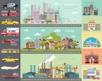 Storstadbegrepp inställda bilar Infrastrukturuppsättning med kafét, skolan, flygplatsen, brandstationen och cityscapes Royaltyfria Bilder