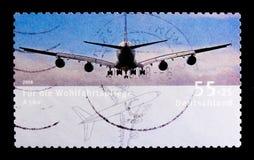 Storstads- område-trafik flygplanflygbuss A380 2005, välfärd: Flygplanserie, circa 2008 Fotografering för Bildbyråer