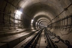 Storstads- tunnel under constraction Royaltyfria Foton