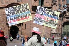 Storstrejk i Cusco, Peru Arkivbilder