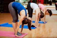 Stortån poserar under yogagrupp fotografering för bildbyråer