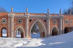 Stort överbrygga i Tsaritsyno, Moscow, Ryssland Royaltyfri Fotografi