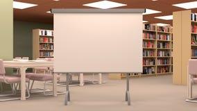 Stort arkiv med den stora projektorskärmen, tabellen, stolar och bokhyllor Royaltyfri Fotografi