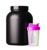 Stort bada av vasslaprotein med den rosa shaker för flickabodybuilding Royaltyfri Fotografi
