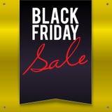 Stort baner för Black Friday försäljning, standert, flagga på en ljus gul bakgrund Royaltyfri Fotografi