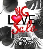 Stort baner för förälskelseförsäljningsmeddelande med tropiska sidor och röd hjärta och bokstäver stock illustrationer