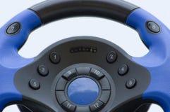 stort blått styrningshjul Arkivfoton