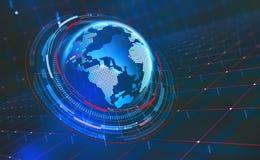 Stort databegrepp Cyberspaceplanet global kommunikation royaltyfri illustrationer