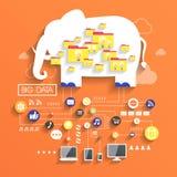 Stort databegrepp i plan design royaltyfri illustrationer