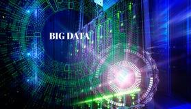 Stort databegrepp Serveror och lagring av den moderna datorhallen med teknologisk bakgrund för hologram Arkivbild
