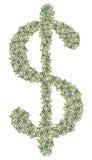 Stort dollartecken som göras av dollar som ett symbol av vinst Royaltyfria Bilder