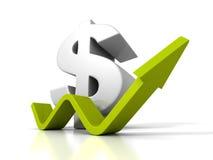 Stort dollarvalutasymbol med stigning växande upp pil Arkivbilder