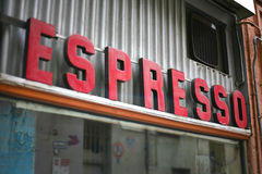 Stort espressotecken Fotografering för Bildbyråer