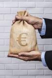 Stort euro för pengarsäcksvart Royaltyfri Fotografi