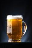 Stort exponeringsglas av öl över en mörk bakgrund arkivbilder