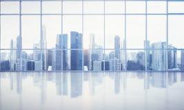 Stort fönster in i det vita kontoret med megalopolissikt Royaltyfri Foto