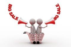 stort försäljningsbegrepp för man 3d Fotografering för Bildbyråer