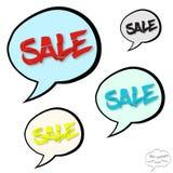 Stort försäljningsbegrepp i komikerbubblor Arkivfoton