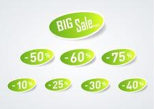 Stort försäljningsrabattsymbol Arkivbild