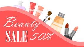 Stort försäljningsrengöringsdukbaner Mode och skönhetsprodukt stock illustrationer
