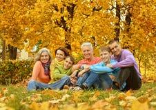 Stort familjsammanträde på jordning arkivfoto