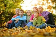 Stort familjsammanträde på jordning royaltyfri fotografi