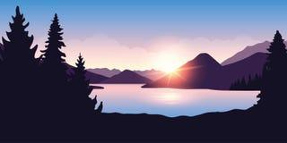 Stort flod- och skognaturlandskap på soluppgång i purpurfärgade färger royaltyfri illustrationer