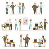 Stort framstickande Managing And Supervising arbetet av samlingen för kontorsanställda av den bästa chefen And Workers Illustrati stock illustrationer