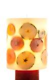 Stort fruktstearinljus Fotografering för Bildbyråer